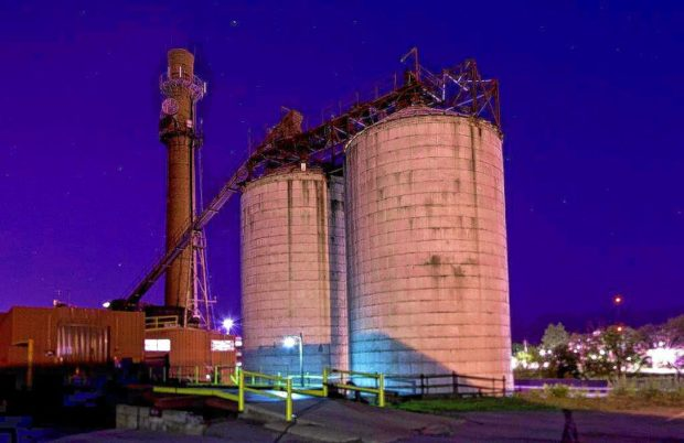The Concord Steam Corporation plant on Pleasant Street at night.  (GEOFF FORESTER / Monitor staff)